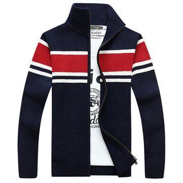 Buy Fall Winter Mens Fashion Warm Sweater Striped Knitted Stand Collar Casual Jackets