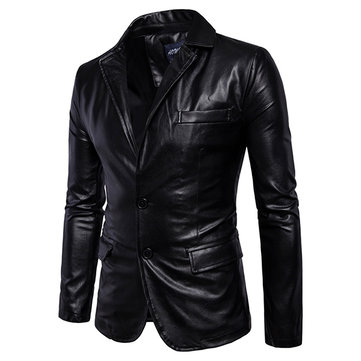Biker Faux Leather Jacket for Men SKU740953