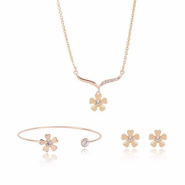 Gold Alloy Flowers Crystal Jewelry Three-Piece Suit for Women SKU447327