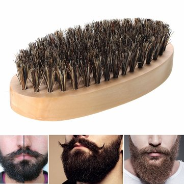 Boar Bristle Thickest Beard Taming Comb Brush Wooden Palm Brush SKU507661