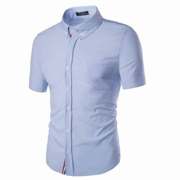 Buy Mens Slim Fit Solid Color Turn-down Collar Short Sleeve Cotton Business Dress Shirts