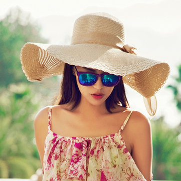 Women Wide Large Brim Summer Hat Beach Sun Floppy Straw Derby Fold Cap