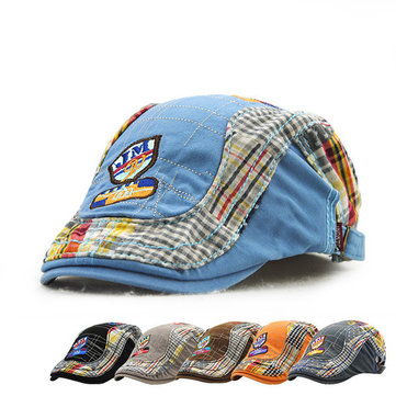 Children Kids Embroidery Letter Newsboy Beret Hat Casual Boys Girls Sunshade Flat Cap