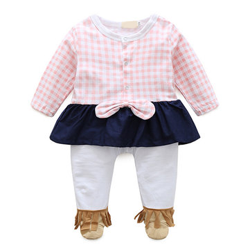 Baby Girls Plaid Round Neck Long Sleeve Romper Jumpsuit