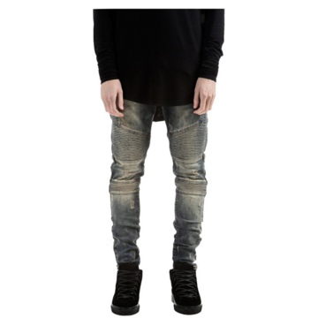 Mens Fashion Elastic Wrinkle Wear Out Slim Fit Pencil Stone Washed Jeans