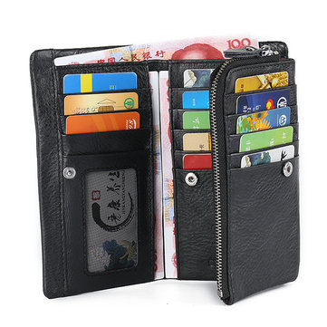 Triple Folding Genuine Leather Wallet 17 Card Holders Phone Bag Coin Bag Purse For Men