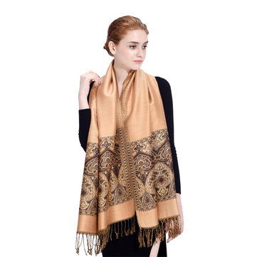 Lyza Women Folk Style Oversize Scarves Winter Warm Skin-friendly Shawl Jacquard Fabric Tassel Scarf