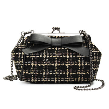 Women Stylish Chain Woolen Cloth Bowknot Hasp Shoulder Bags Evening Bags Crossbody Bags