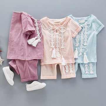 Cute Baby Girl Solid Crochet Patchwork Short Sleeve Two Pieces Suits