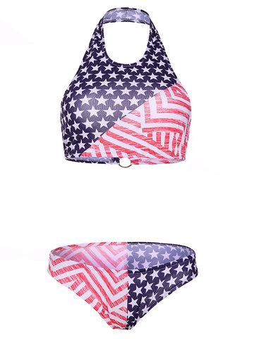 American Flag Printed Two-piece Halter Full Cup Backless Swimwear
