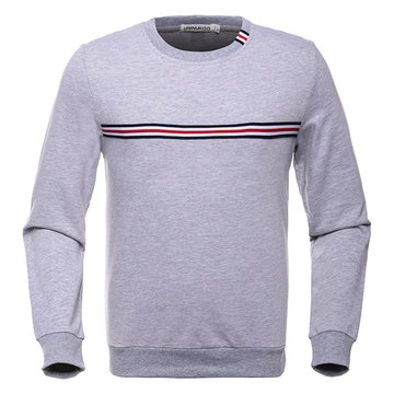 Mens Striped Pattern Round Neck Long Sleeve Casual Cotton Sweatshirt SKU725460