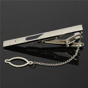 Mens Silver Slide Tie Clip Stainless Steel Plain Clasp Bars Pins Clips Suit Accessories