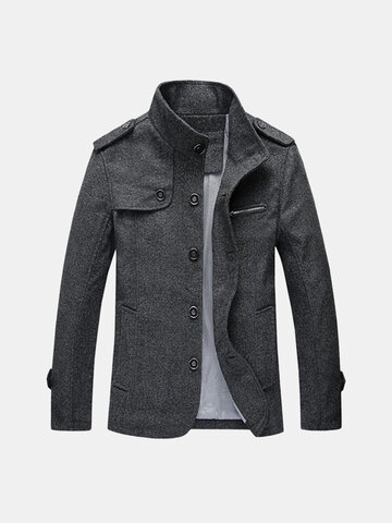 Mens Fall Winter Fashion Mature Stand Collar Retro Woolen Jacket
