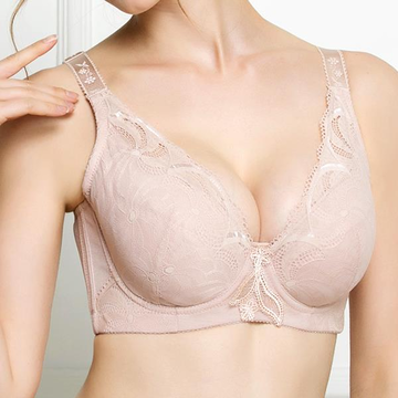 Sexy Breathable Underwire Lace-trim Lightly Lined Push Up Gather Bras