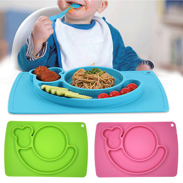 Silicone Mat Table Baby Kids Food Dish Tray Placemat Plate Bowl No BPA SKU727901