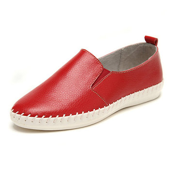 Sewing Leather Flat Slip On Loafers