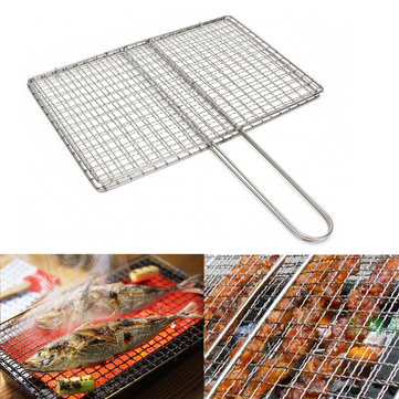 Barbecue Grill Bbq Net Mesh Handle Wire Clamp Stainless Steel Picnic Outdoor Picnic Gadgets