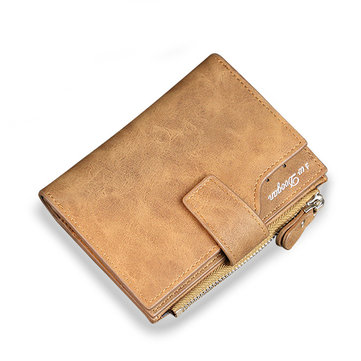 PU Leather Wallet 8 Card Slots Casual Vintage Trifold Card Package Coin Bag Purse For Men