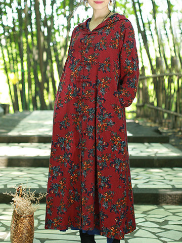 ZHI Women Hooded Floral Printed Long Sleeve Plate Buckle Maxi Coats
