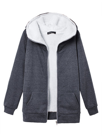 Women Solid Hooded Thick Coat