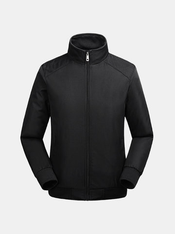 Buy Mens Fall Winter Outdoor Breathable Stand Collar Casual Solid Color Jacket