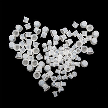 100Pcs Large and 100 Pcs Small Plastic Tattoo Ink Cups Supplies Machine Kit SKU024805