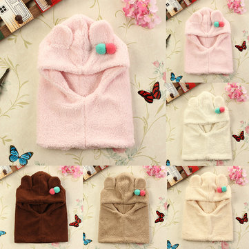 Boys Girls Hooded Toddler Bear Fleece Soft Warm Winter Hat Caps Kids Coif Hood Scarf