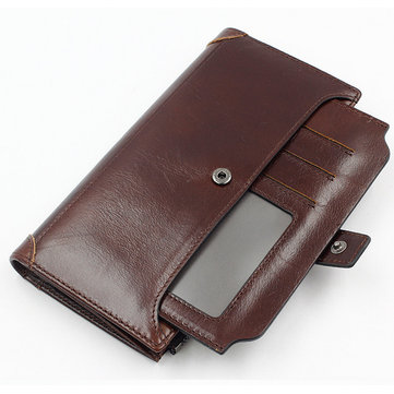 Genuine Leather Vintage Wallet Long 16 Card Holders Phone Bag Coin Bag For Men