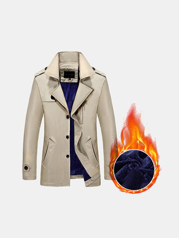 Buy Business Casual Trench Coat Thick Warm Cotton Fleece lining Turndown Collar Jacket Men