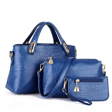 Women PU Leather Handbag Casual Shoulder 3PCS Bags Set