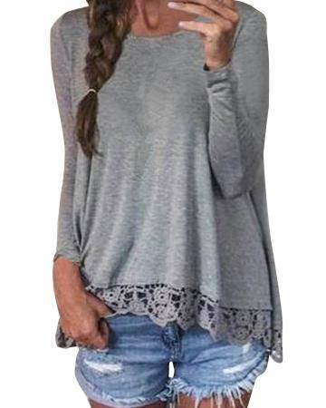 Casual Long Sleeve Lace Patchwork O-Neck Top Blouse