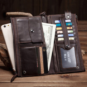 Long Section Retro Casual Cow Leather Wallet Long Section Clutch Bag For Men