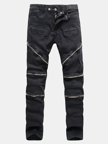 Vintage Motorcycle Style Casual Multi-zippers Stone Washed Elastic Slim Denim Jeans For Men