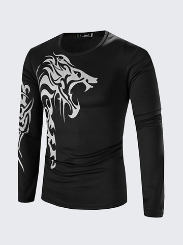 Mens Long Sleeve T-shirt Fashion Tattoo Printing Quick-dry Casual Fall Winter Top Tee