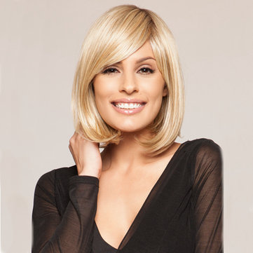 Medium Straight Fluffy Side Bang Elegant Human Hair Wig Mono Top Capless Wigs 5 Colors
