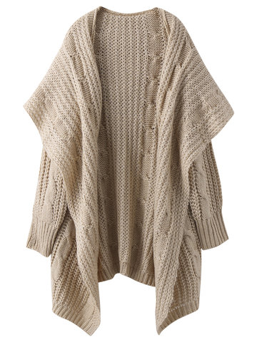 Fashion Loose Pure Color Long Sleeve Hooded Knit Sweater Shawl Cardigan For Women