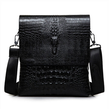 Men Business Retro Pu Alligator Grain Black Brown Shoulder Crossbody Messenger Bag Briefcase