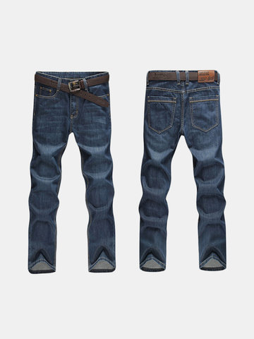 Plus Size Casual Business Loose Straight Legs Jeans High-Rise Pants For Men