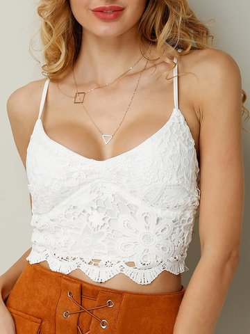 Sexy Crochet Lace V-neck Spaghetti Strap Women Crop Tops