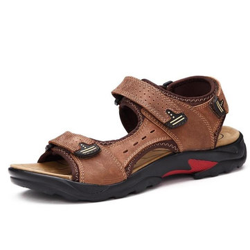 Men Big Size Leather Hook Loop Hollow Out Outdoor Hiking Sandals