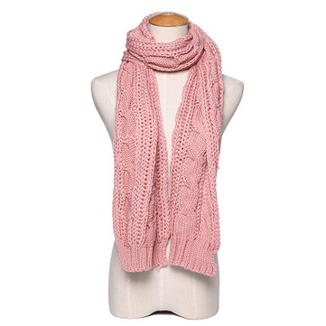 Long Wool Warm Knit Scarf Shawl Women Thick Winter Neck Scarves