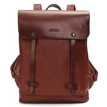 Women Men Vintage Satchel Backpack PU Leather Laptop bags Rucksack School Bag