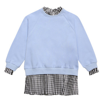 Children|Children's|Girls Blue Girls Plaid Patchwork Sweatshirts