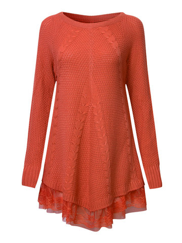 Elegant Women Long Sleeve Lace Stitching Pure Color Knit Sweaters