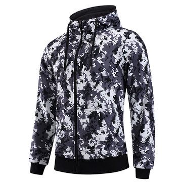 Mens Fashion Camo Sweatshirt Hoodie Zipper Long Sleeve Polyester Casual Hoodie SKU720060