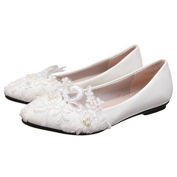 Buy White Lace Wedding Flower Pointed Toe Slip Flat High Heel Shoes