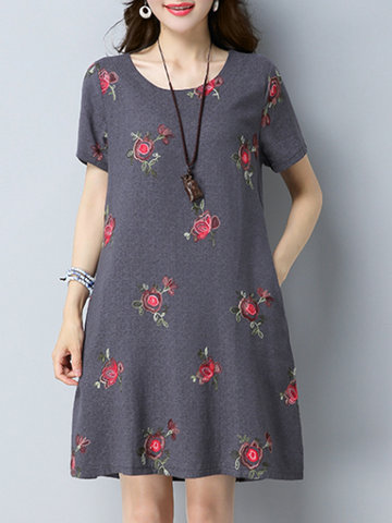 Casual Floral Embroidery O-neck Short Sleeve Women Dresses