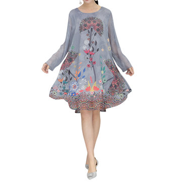 Casual Long Sleeves Flowers Printed Dresses For Women