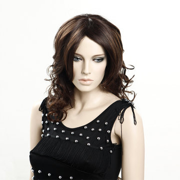 New Fashion Style Fluffy Full Fiber Long Curly Wave Women Wig