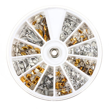 Buy 3D Metallic Nail Art Decoration Studs Plate Round Wheel